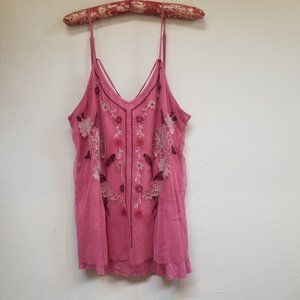 Maurices Pink Embroidered Floral Overlay Top Large